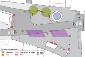Avec le nouveau plan d'aménagement de la place, tous les emplacements de stationnement seront du même côté. ©Michel Duperrex