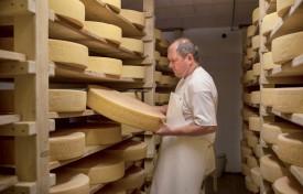 Quelque 250 meules de gruyère peuvent être stockées dans la cave de Philippe Germain, à l'alpage du Pré de Bière. ©Simon Gabioud