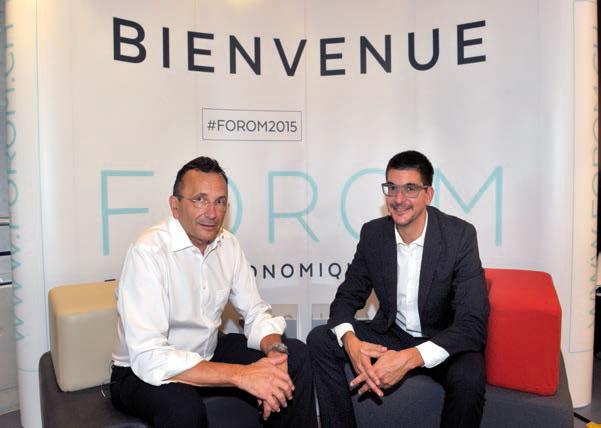 Yves Pigneur (à g.) et Alex Osterwalder étaient les maîtres de cérémonie d'un workshop géant. © Michel Duperrex