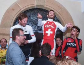 Le podium composé de Gregory Rast, Danilo Wyss et Silvan Dillier. © Pierre Blanchard