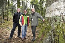 Gilbert Monnier (municipal des forêts de Baulmes), Joël Delacrétaz (gardeforestier de Baulmes) et Pierre-François Raymond (inspecteur forestier). © Michel Duperrex