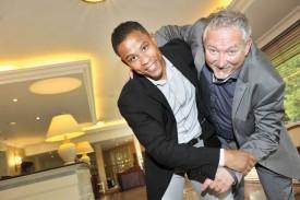 «Prise» de contact entre le président du Club des Milles Philippe Rapo et son invité Sergei Aschwanden. © Michel Duperrex