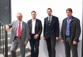 Eric Jordan, directeur de Prolait, Daniel Geiser, vice-directeur, Marc Benoit, président, et Didier Roch, vice-président. © Roger Juillerat