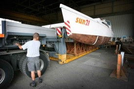 Le bateau solaire lors de la construction à Yvonand © Sylvain Liechti
