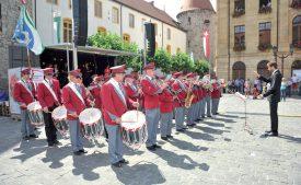 La fanfare L'Avenir a régalé l'assemblée de morceaux, dont le Cantique suisse. ©Carole Alkabes