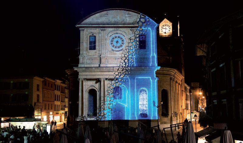 Le Temple d'Yverdon-les-Bains, éclairé et animé par le partenaire Media Engineering Institute de la HEIG-VD. ©Gabriel Lado