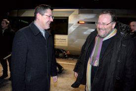 En février 2014, le vice-président de la Région Franche-Comté en charge des transports, Alain Fousseret, avait fait le voyage dans le train des frontaliers, puis avait poursuivi en direction de Lausanne pour rencontrer la conseillère d'Etat Nuria Gorrite. ©Duperrex-a