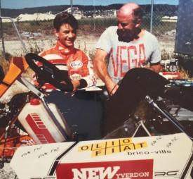 Jean-Pierre Brun avec Xavier, sur les circuits. Il était très fier de la carrière de pilote réalisée par son fils. ©Famille Brun