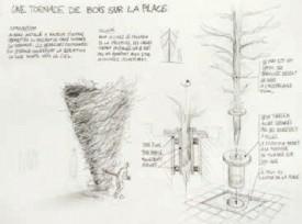 La «Tornade de bois» est, depuis lundi, en cours de réalisation sur la place Pestalozzi. DR