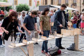 Irma Riser, Jérôme Berbier, Dinda Reumer et Arndt Watzlawik (de g.à.dr.) ont participé en rythme au projet «Palabre». ©Gabriel Lado