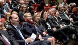 Les conseillers d'Etat ont fait le déplacement jusqu'au Théâtre Benno Besson pour célébrer l'arrivée de leur nouvelle collègue, ©Cesla Amarelle.