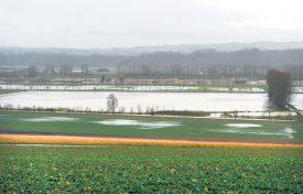 La plaine de l'Orbe est inondée sur des centaines d'hectares. Les dommages aux cultures s'annoncent importants. ©Michel Duperrex, Michel Duvoisin et I. Ro