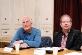 De g. à dr.: Blaise Nicole (municipal à Chamblon), Gérald Charbon (syndic de Cheseaux-Noréaz). ©Nadine Jacquet