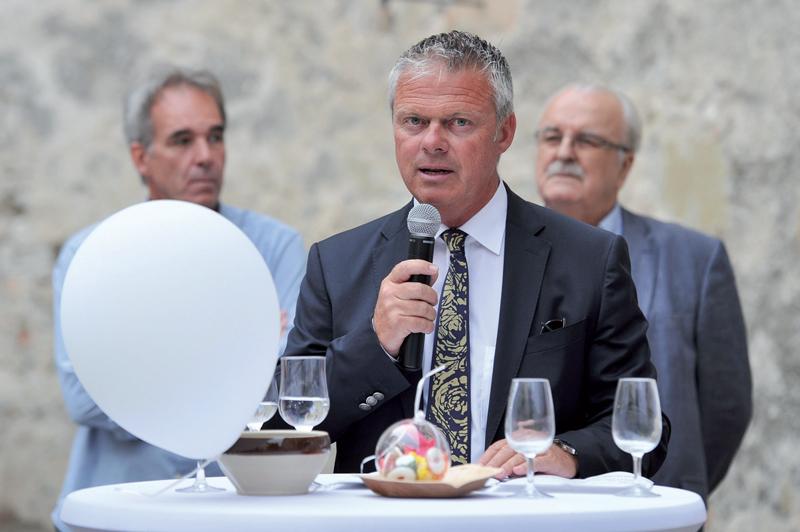 Jean-Daniel Carrard, syndic d'Yverdon-les-Bains, a dit son plaisir à voir évoluer une presse indépendante. ©Carole Alkabes