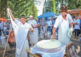 Les spécialistes de la laiterie Tyrode, de L'Auberson, moulent ensuite la masse pour commencer à lui donner la forme de la future meule. ©Carole Alkabes