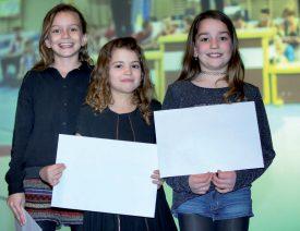 Emie Harmischberg, Maia Barbezat et Malicia Rochat, trois athlètes de la Gym de Grandson ont été honorées pour leurs bons résultats. ©Champi