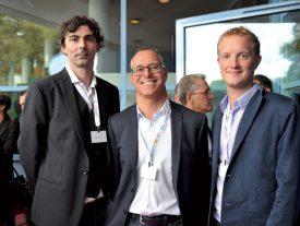 Les EHNV étaient présents en force avec leur directeur, Jean-François Cardis (au centre), et les spécialistes de la communication Raphaël Muriset (à g.) et Loïc Favre (à dr.). ©Carole Alkabes