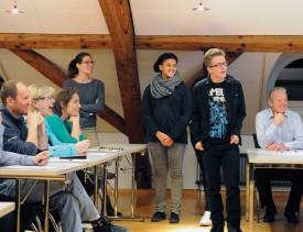 Les jeunes de l'EJED lors de la présentation de leur projet. © Pierre Blanchard
