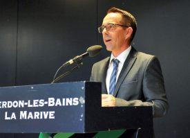 Alexandre Barrelet, président du comité d'organisation de la RTS, a fait un discours lors de la soirée de gala, samedi soir, à La Marive. ©Carole Alkabes