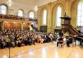 Le Quatuor Byron, accompagné de la pianiste Delphine Bardin, s'est produit au Temple, samedi après-midi. ©Carole Alkabes