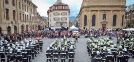 La cérémonie officielle s'est tenue sur la place Pestalozzi, à Yverdon-les-Bains, au terme du défilé. ©Carole Alkabes