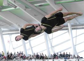 Les Amis-Gymnastes d'Yverdon ont livré une prestation d'exception, samedi, en finale du saut mini-trampoline. © Champi