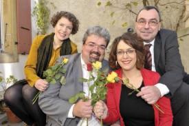 La Verte Carmen Tanner sera accompagnée, sur le ticket rose-vert, par les socialistes Pierre Dessemontet, Natacha Ribeaud Eddahbi et Jean-Claude Ruchet (de g. à dr.). © Michel Duperrex