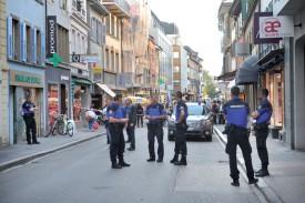 Les faits viennent d'être découverts. Plusieurs patrouilles de Police Nord vaudois et de la Gendarmerie sont intervenues. ©Michel Duperrex