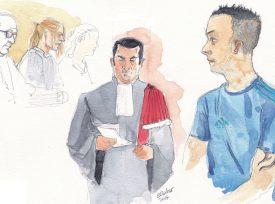 Le Ministère public, représenté par Xavier Christe (au centre), a ouvert les plaidoiries, hier après-midi, contre le prévenu de 29 ans (à dr.). ©Emmanuelle Nater