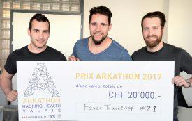 Toni Dias, Alain Fresco et Romain Therisod (de g. À dr.), font partie de l'équipe qui a remporté le 1er prix d'une valeur de 20 000 francs. ©Michel Duperrex
