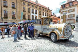 Les visites d'Yverdon-les-Bains à bord du train touristique, inaugurées l'an dernier, ne seront par reconduites cet été. ©Alkabes-a