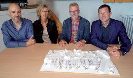 Dans l'ordre, François Rebetez, intégrateur OPL (à g.), Catherine Martinson, membre de la direction du WWF Suisse, Henri Germond, syndic d'Orbe et Robert Ischer, CEO du groupe Orllati Real Estate. ©Lila Erard