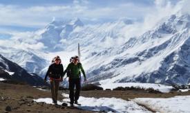 Les deux Suisses se sont rendus au sommet du col Thorong La, au Népal, à plus de 5400 mètres d'altitude. DR