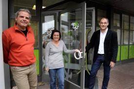 Franck Perez, chef de projet, Claire Neuville Kopp, responsable BRIO Nord Broye, et Yves Kühne, secrétaire général, vous accueilleront mardi à Yverdon. © Nadine Jacquet