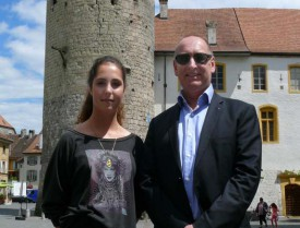 Debora Martinez et le responsable du Rotary Youth Exchange d'Yverdon, François Gillet.