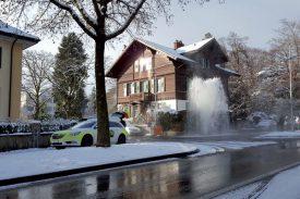 Un véritable geyser a jailli face à l'Hôtel de la Prairie. ©DR