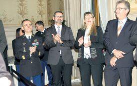 Le colonel Stéphane Bras, le commandant de Police Nord vaudois Pascal Pittet, Monica Bonfanti, cheffe de la Police cantonale de Genève, et Jacques Antenen, commandant de la Police cantonale vaudoise. ©Isidore Raposo