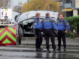 Les policiers, sur les lieux de l'accident. ©Alain Doll