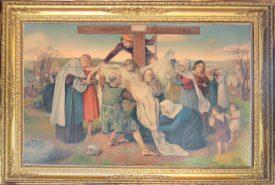 «La Descente de Croix», 1940, (crayons de couleur sur toile, 1,20 m x 1,67 m) est désormais visible à l'église de Montagny. L'artiste y a glissé son autoportrait au milieu, sur l'échelle. ©DR