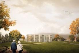 Un parc généreux est prévu autour du bâtiment de trois étages, pour qu'il s'intègre de manière harmonieuse au site, en bordure de la localité d'Orbe et à proximité du Manoir de Montchoisi (que l'on aperçoit ici à droite de l'image). © MAK architecture & consulting