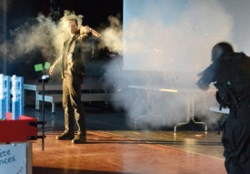 La projection du premier volet de la saga Terminator a donné lieu à une animation spectaculaire. © Michel Duvoisin