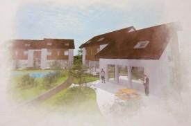 Image virtuelle du futur quartier du Domaine du Pressoir, qui sera complètement autonome en matière d'énergie.