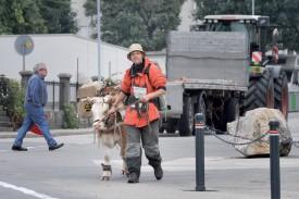 Le duo à proximité de la gare de Sainte-Croix. Son périple durera 7h30. © Ludovic Pillonel