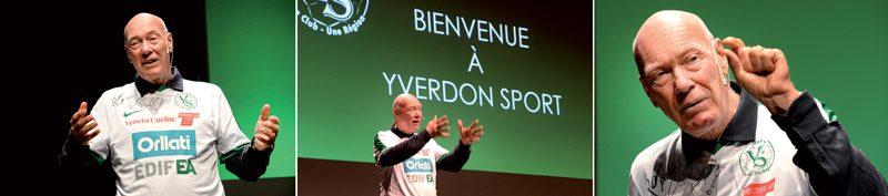 Orateur né, Jean-Claude Biver a improvisé son discours, seul sur scène, plus de 45 minutes durant. Et il a parlé de foot, bien sûr. ©Michel Duperrex