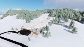 Les trois tremplins envisagés suivent la courbe naturelle du relief, tandis que le bâtiment du centre nordique se situe en-dessous de la zone d'arrivée. Les pistes de ski de fond emprunteront les prés alentours. Images fournies par l'organisateur