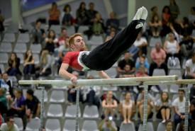 Justin Delay a tout bonnement été irréprochable aux barres parallèles. Le gymnaste du club organisateur y a obtenu la note maximale de 10. Il a terminé 2e du concours masculin en C7, à cinq petits dixièmes de l'or. ©Luc Morisod / Piot-a