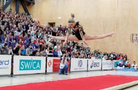 Le sol, c'est «son» engin et, pour la première fois, Sandy Jaccard s'est offert le titre de championne de Suisse de la discipline. ©David Piot
