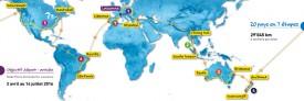 Le parcours détaillé de Jonas Goy, qui passera par l'Europe, l'Asie, l'Océanie, l'Amérique du Nord et l'Amérique du Sud. DR