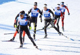 Premier passage sur la ligne après 15 kilomètres. C'est l'ancien athlète olympique Alexandre Rousselet qui mène le groupe de tête, mais Clément Pignier (dossard 68) finira par s'imposer au final.