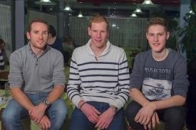 Le fan's club de Danilo Wyss (à gauche) a donné un coup de pouce à Lars Schnyder (VC Mendrisio) et Martin Schäppi (VC Orbe).